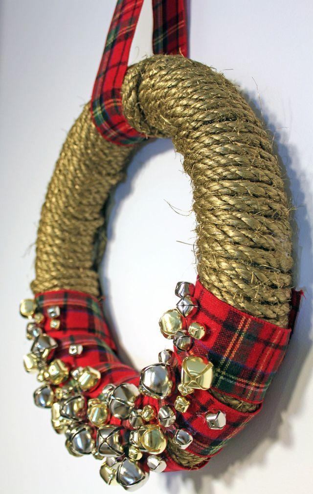 DIY-Wreath-Rope-Bells-Plaid-Ribbon-Dose-of-Delightful