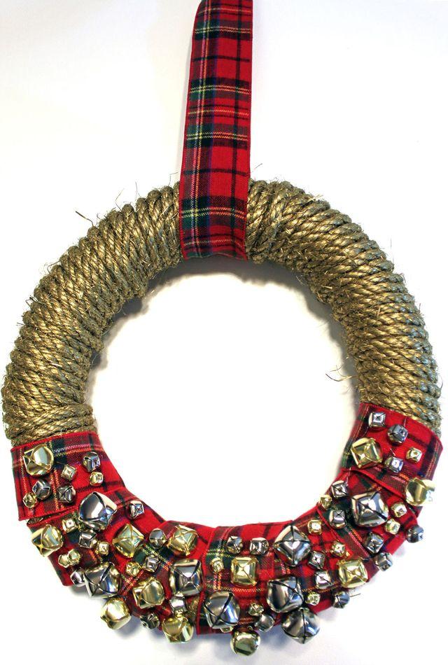 DIY-Wreath-Rope-Bells-Plaid-Ribbon-Front