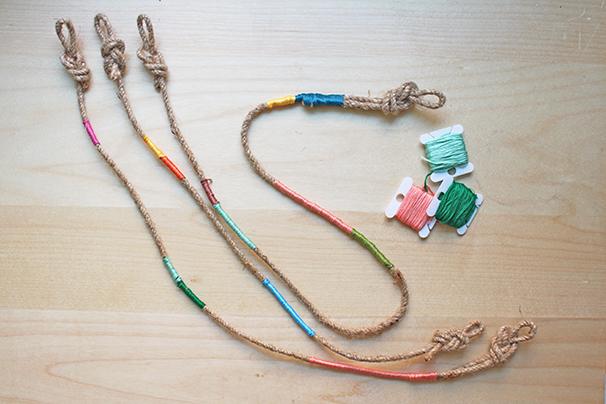 DIY-Friendship-Bracelet-Inspired-Plant-Hangers-Tutorial-Thread-Wrapped