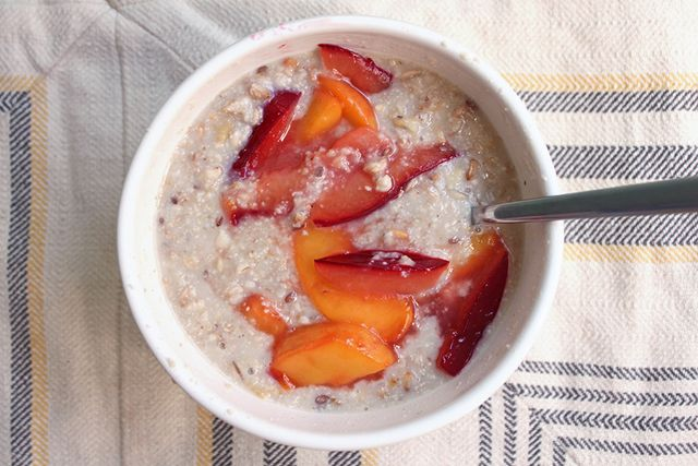 Ancient-Grain-Oatmeal-Sauteed-Peaches-Plums-Cashew-Milk-Cinnamon-Nutmeg-Homemade-Recipe